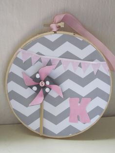 Items similar to Grey and Pink Chevron and Bunting Embroidery Hoop Art Mixed Media Custom with Girls Initial and Pinwheel on Etsy Dummy Clips, Embroidery Hoop Art, Infant Activities, T Shirt Diy, Baby Decor, Amelie, Pinwheels, Pickle, Felt Crafts
