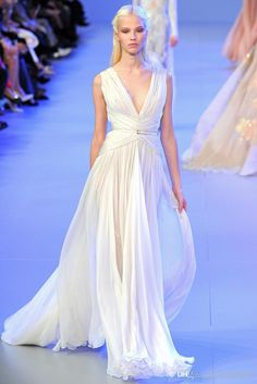 Elie Saab Couture Spring 2014 Evening/Formal Gown Low Cut V-Neck Ruffled Chiffon Charming Evening/Bridesmaid/Graduation Dresses with Ribbon from Andybridal,$94.25 | DHgate.com