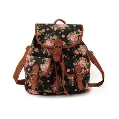 Cute school fashion black floral girl canvas flowers back to school... ❤ liked on Polyvore featuring bags, backpacks, floral print backpack, flower print backpack, flower print bag, canvas rucksack and floral rucksack