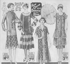 By the mid 1920s afternoon dresses were losing the dainty lace & organdy trim in favor of prints and shiny satin or taffeta fabrics. These 1926 dresses reflect the new shorter skirts & dropped waists but also the trend of mixing prints & solids.  The fancy was created by bolder colors & statelier accents such as the big bow on the center left dress.