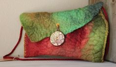 """Hand felted """"Vineyard"""" purse with polymer clay button"""