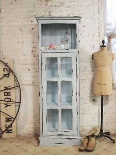Painted Cottage Chic Shabby Chateau Farmhouse Linen Cabinet [CC46] - $425.00 : The Painted Cottage, Vintage Painted Furniture