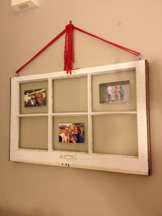 Old window picture frame.  I like how it hangs.  Hardware at the top...