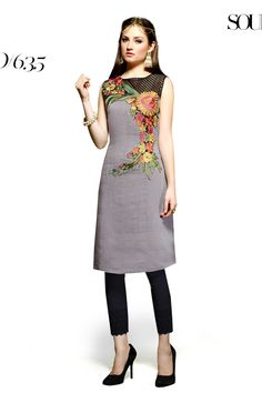 Designer party wear reyon gray kurti with embroidery work 635