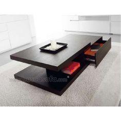 $363 / 275€ Mesa de centro con cajón MANTRA. Disponible en acabado lacado brillo blanco y roble negro. Dos colores para dos ambientes totalmente diferentes. Selecciona el tuyo. Las medidas son: 120x70 cm. y 30 cm de altura.