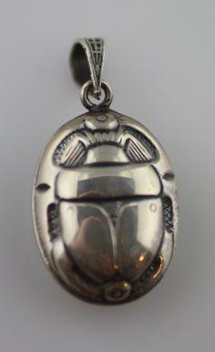 scarab beetle pendant sterling Art Nouveau
