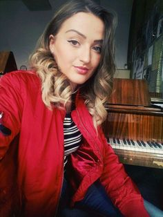 Tatiana Hajzušová Red Leather, Leather Jacket, Opera Singers, Blazer, Music, Jackets, Women, Fashion, Studded Leather Jacket