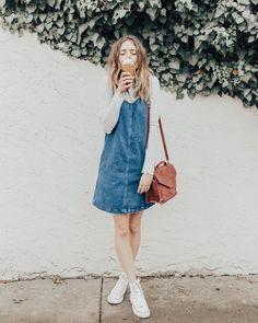 Long sleeve shirt under dress Casual Outfits, Cute Outfits, Fashion Outfits, Denim Outfits, Outfit Jeans, Spring Summer Fashion, Spring Outfits, Shirt Under Dress, Estilo Jeans