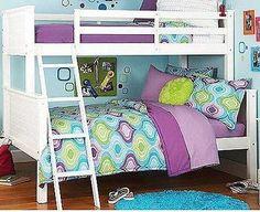 Bunk Bed Twin Over Full White Loft Bedroom Children Furniture Kids Wooden Ladder