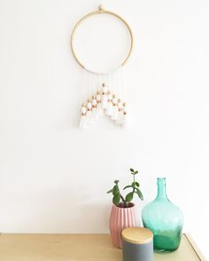 White boho dream catcher, tassel wall hanging, boho wall hanging, modern tassel mobile, handmade baby mobile, nursery decor, tassel decor