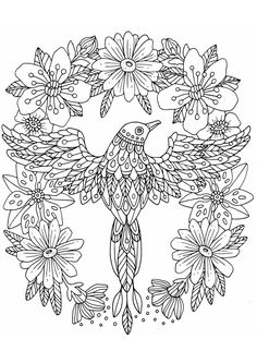 Super Coloring Pages, Online Coloring Pages, Colouring Pics, Doodle Coloring, Coloring Book Pages, Coloring Sheets, Bird Embroidery, Embroidery Patterns, Diy Y Manualidades