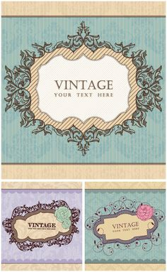 Wedding invitation frames vector a beautiful border pinterest set of 3 nice decorative vector vintage ornate frames with some ornaments and elegant backgrounds for your card designs labels posters invitation cards stopboris Image collections