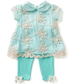 Rare Editions Baby Girls Newborn-24 Months Floral-Embroidered Sheer-Overlay Dress & Leggings Set