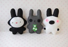 Sale set of 3 cute bunnies  handmade felt soft dolls by Mielamiela, $12.90