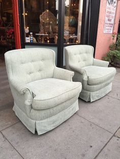 Pair of Regency Swivel Club Chairs and Matching Ottoman,