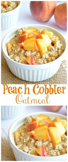 Fast Healthy Breakfast Recipes : Illustration Description Breakfast Oatmeal meets Peach Cobbler in this healthy, sugar free recipe! Perfect way to start the day! Healthy Sugar, Healthy Snacks, Healthy Eating, Healthy Recipes, Sugar Diet, Diet Recipes, Breakfast And Brunch, Breakfast Healthy, Diabetic Breakfast Recipes