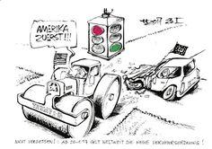 """OÖN-Karikatur vom 23. Jänner 2017: """"Nicht vergessen: Seit 20.1.2017 gilt weltweit die neue Verkehrsordnung."""" Mehr Karikaturen auf: http://www.nachrichten.at/nachrichten/karikatur/ (Bild: Haitzinger)"""