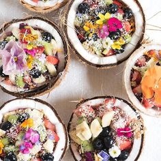 Coconut acai bowls with all the toppings. Yes, please!