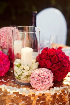 Red Pink And White Flowers #wedding #sweetheart table