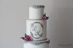 wedding cakes white silver glamour bas-relief pink sugar flowers sugarflowers monogram pretty moulds texture grand elegant