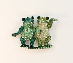 Green Crystal Frogs Brooch pin. Unique Frog Broach Jewelry Gift for a Frog Lover.