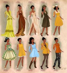 Tiana--Disney Characters in 20th Century Fashion