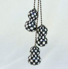 Gourd Art - Black and White Checkered Chain Pulls