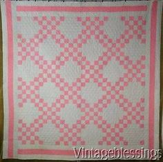 ELEGANT-Antique-1880s-PA-Double-Pink-amp-Grey-Irish-Chain-QUILT-82x81-034-Never-Used