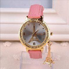 FREE SHIPPINGParis Pink Leather Watch women's pink leather quartz watch paris Jewelry