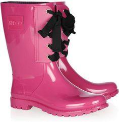 REDValentino's Laceup Rubber Rain Boots.
