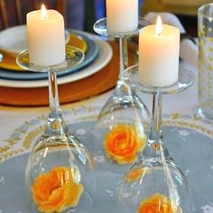 Wedding table center pieces only metallic dipped candles and white roses