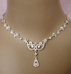 Vintage Inspired Bridal Necklace Set-vintage necklace; bridal necklace set;