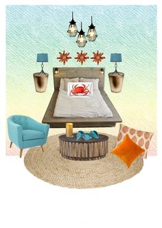 """Sea dreams "" by halah6 on Polyvore featuring interior, interiors, interior design, home, home decor, interior decorating, Thom Filicia, Pillow Decor, NOVICA and Trina Turk LA"