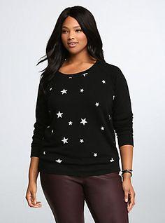 Star Print Sweatshirt, DEEP BLACK