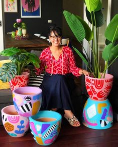 Love this bright one of a kind hand painted plant pots by Deb McNaughtonI am SO happy to finally share that my limited edition one-of-a-kind hand painted pots are now available on my website.Likes, 373 Comments - Deb McNaughton Painted Plant Pots, Painted Flower Pots, Pots D'argile, Clay Pots, Diy Décoration, Diy Crafts, Potted Plants, Succulent Plants, Cactus Plants
