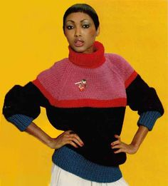 1980s Vintage Knitting Pattern COLOUR BLOCK SWEATER with poloneck/turtleneck, boxy fit, chunky knit, Instant Download Pdf 0024