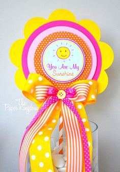 You Are My Sunshine Centerpiece Deluxe Party Centerpiece You Sunshine Birthday Parties, 9th Birthday Parties, Third Birthday, Birthday Ideas, Activity Day Girls, Birthday Badge, Birthday Centerpieces, Party Items, You Are My Sunshine