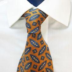 Ralph Lauren Chaps Neck Tie Bronze Gold Geometric 100% Silk Hand Made USA  #RalphLaurenChaps #NeckTie