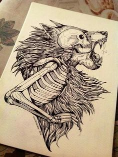 lion skeleton drawing... dope af!