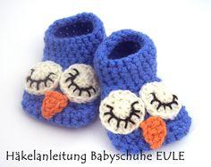 German PDF crochet pattern: Häkelanleitung Babyschuhe EULE