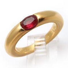 Cartier Ellipse Natural Ruby Band Ring Solid 18K Gold - EraGem