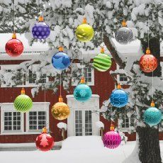 How To Make Cheap and Easy Giant Christmas Ornaments is part of Christmas crafts Outdoor - Learn how easy it is to make adorable oversized ornaments to add to your Christmas decor Minimal effort for maximum visual impact! Noel Christmas, Christmas Balls, Winter Christmas, Christmas Crafts, Large Outdoor Christmas Ornaments, Cheap Christmas, Christmas Ideas, Office Christmas, Christmas Porch