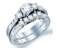 3 Stone Diamond Engagement Ring Wedding Bridal Set 14k White Gold 1 CT #Diamond #wedding #Bridal #Ring #fashion #Jewelry #White