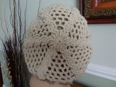 Ivory/Off White, Crochet Cable Open Weave Slouch, Tam Hat, Snood, Beret.  Great Summer Beach Hat. by yarnnscents on Etsy