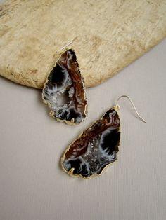 Black Agate Geode Slice Earrings Druzy Quartz by julianneblumlo, $78.00