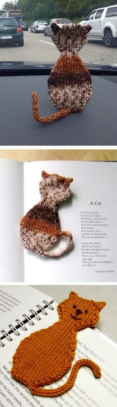 "Free Knitting Pattern for Cat Bookmark - Knit in one piece with the ears picked up and the tail in i-cord. Approximately 7"" / 18 cm long. Designed by Stana D.Sortor. Pictured projects by seymor and Patty7737"