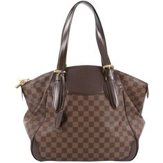 Pre-Owned Louis Vuitton Verona Handbag Damier GM ($1,115) ❤ liked on Polyvore featuring bags, handbags, tote bags, brown, leather tote purse, leather tote, leather tote bags, louis vuitton purse and brown leather tote bag