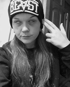 "#shoutout to @mamalucifer with our ""BEAST"" Beanie like a 😈 available at www.crmc-clothing.co.uk 