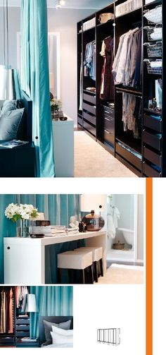 Closet behind bed again, use curtain or padded plywood 'headboard' to separate spaces-Ikea Catalog