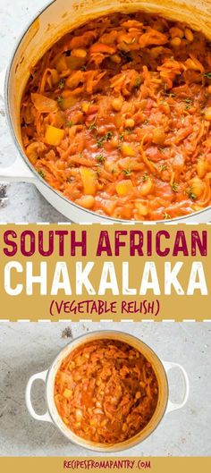 Chakalaka is a traditional South African recipe that is SO easy to make It s a flavourful African dish ready in just about 30 mins chakalaka chakalakarecipe southafrica southafrican african via recipespantry South African Dishes, West African Food, South African Recipes, Vegetable Recipes, Vegetarian Recipes, Cooking Recipes, Healthy Recipes, Free Recipes, Cooking Ideas
